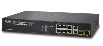 FGSD-1022HP Комутатор PLANET SNMP Managed 8-Port 802.3at high power PoE Fast Ethernet Switch + 2-Port Gigabit (200W)